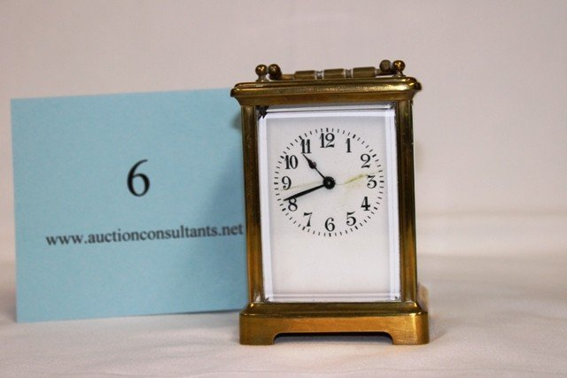 6: BRASS CARRIAGE CLOCK, MADE IN FRANCE, GOOD CONDITION