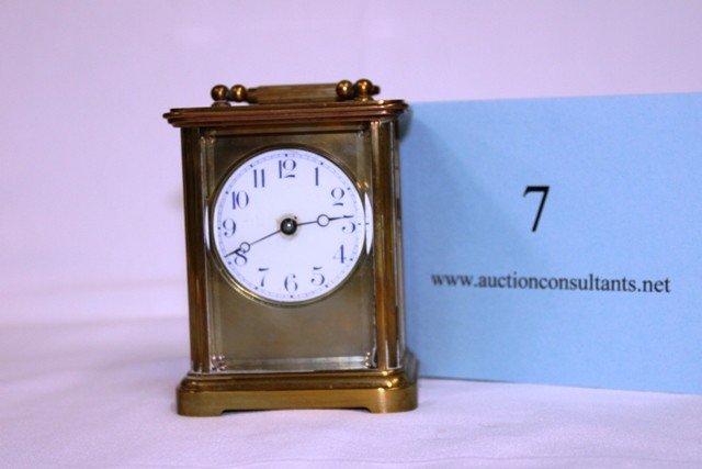 7: BRASS CARRIAGE CLOCK, CHELSEA CLOCK COMPANY, BOSTON
