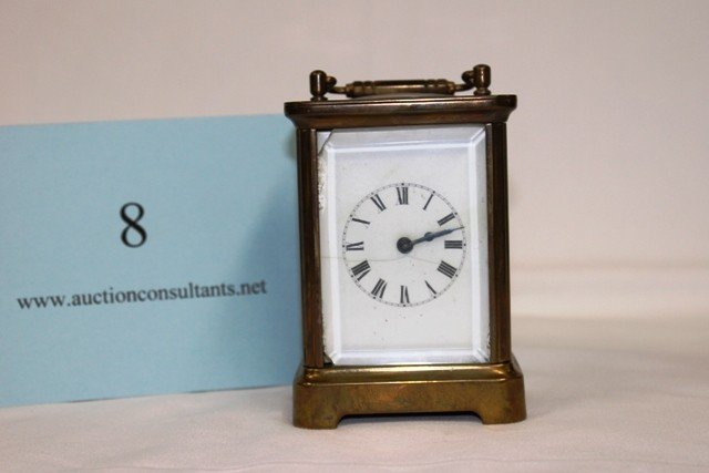 8: BRASS CARRIAGE CLOCK, WATERBURY CLOCK COMPANY, (CHIP