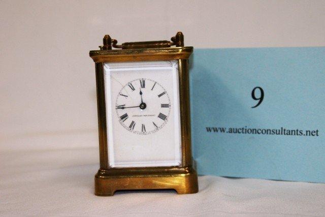 9: BRASS CARRIAGE CLOCK, WATERBURY CLOCK COMPANY, JEWEL