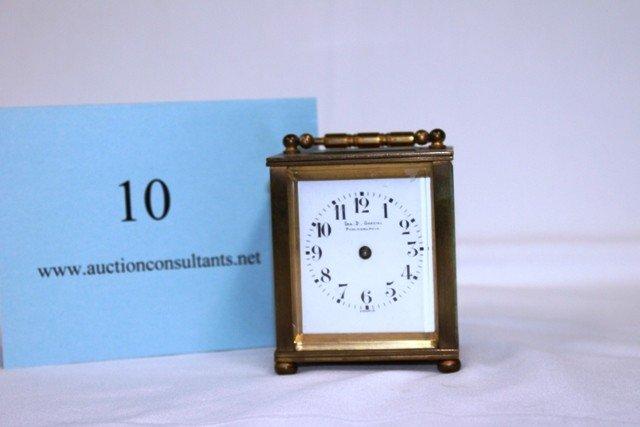 10: BRASS CARRIAGE CLOCK, IRA D GARAIAN, PHILADELPHIA,
