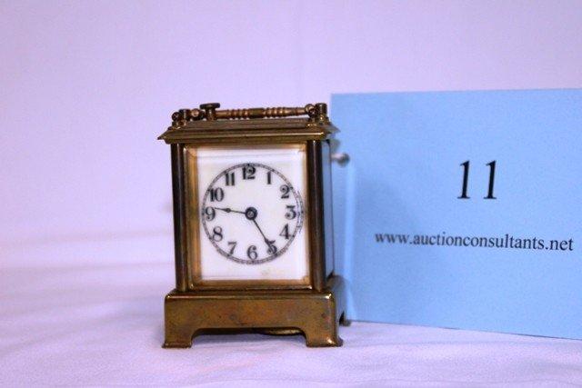 11: BRASS CARRIAGE CLOCK, WATERBURY CLOCK COMPANY, GOOD