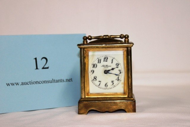 12: BRASS CARRIAGE CLOCK, NEW HAVEN USA, GOOD CONDITION
