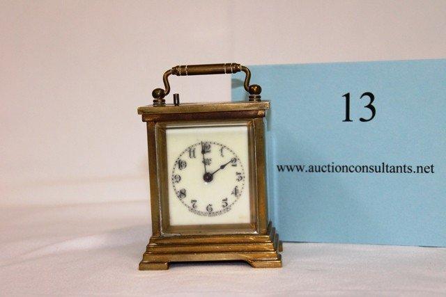 13: BRASS CARRIAGE CLOCK, WC LOGO ON FACE, GOOD CONDITI