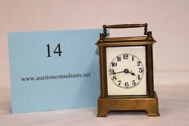 14: BRASS CARRIAGE CLOCK, WATERBURY COMPANY, (NO CRYSTA