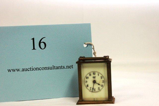 16: BRASS CARRIAGE CLOCK, WATERBURY COMPANY, GOOD CONDI