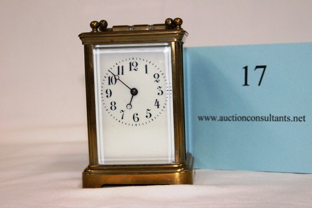 17: BRASS CARRIAGE CLOCK, MADE IN FRANCE, GOOD CONDITIO