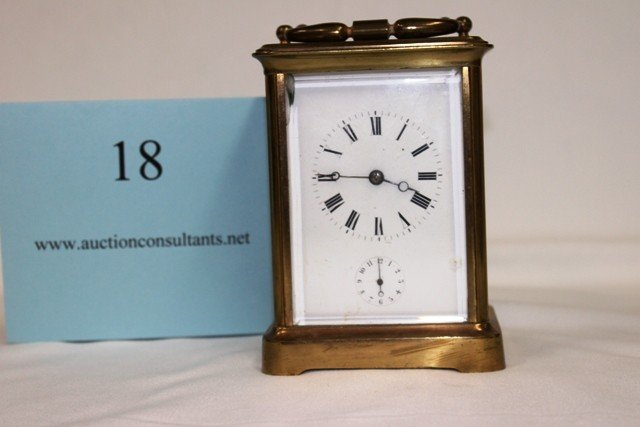 18: BRASS CARRIAGE CLOCK, GOOD CONDITION, 4 X 5 X 3.25I