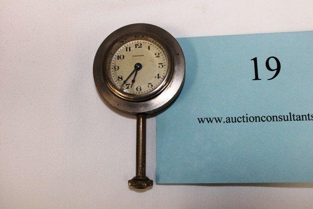 19: DASHBOARD CLOCK, WALTHAM, GOOD CONDITION, 4.25 X 2.