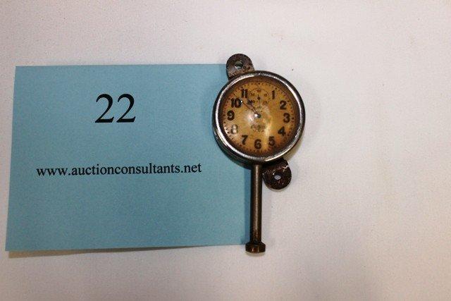 22: DASHBOARD CLOCK, ELGIN, FAIR CONDITION, 4 X 2 X .75