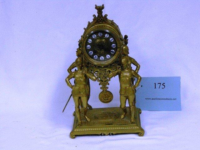 175: TIFFANY AND CO, BRASS, ROMAN FIGURINE CLOCK, (MISS