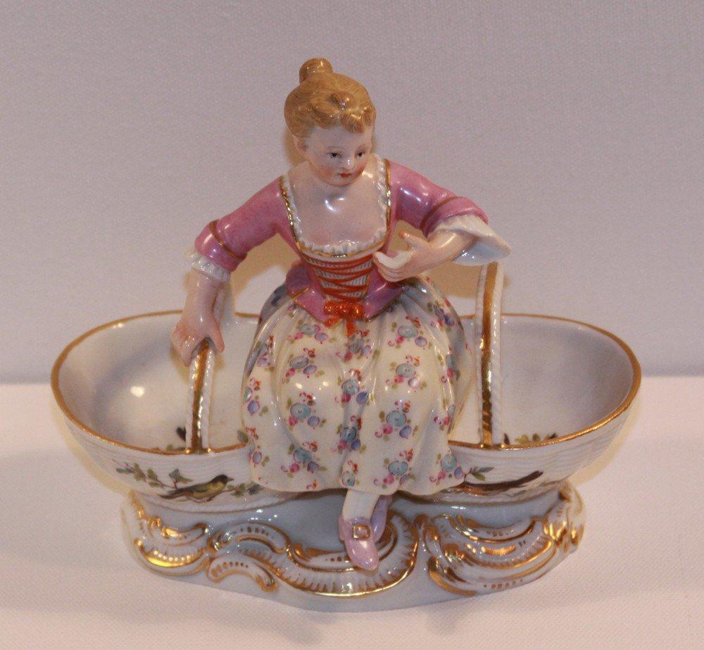 8: Meissen Figural Woman on Baskets