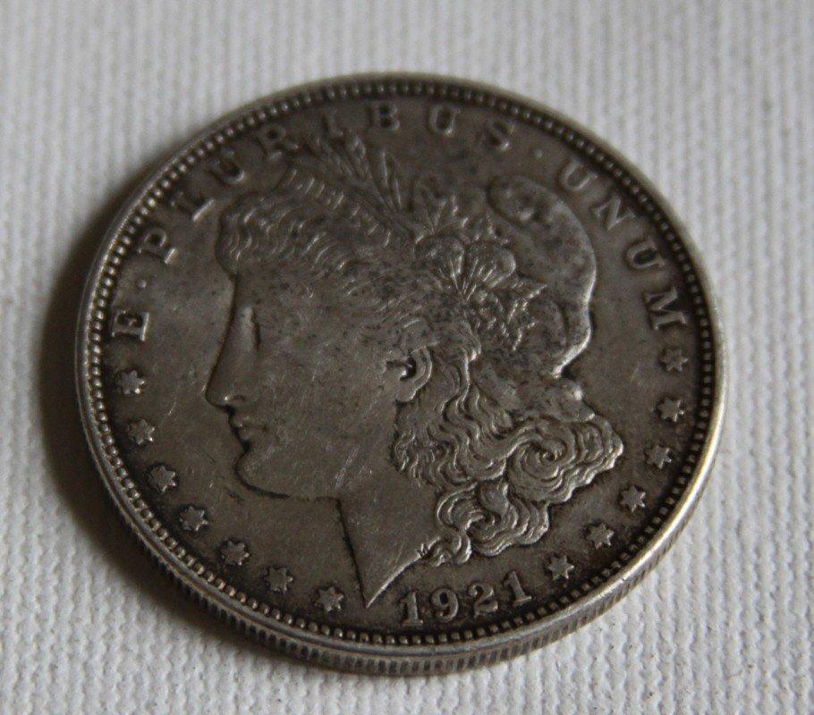 """4: 1921 Morgan Silver Dollar Micro """"d"""""""