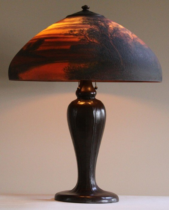 "141A:  Handel 18"" chipped ice  Reverse Painted Lamp"