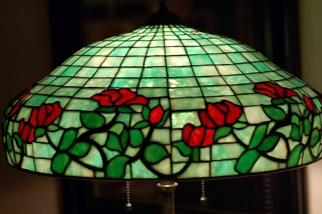 187: Extremely rare Gorham leaded glass lamp