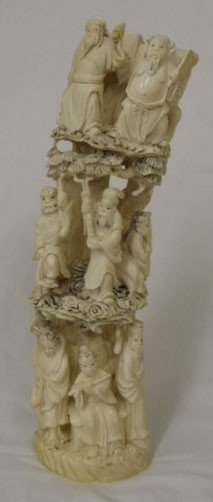 126: SUPERB 19C CHINESE IVORY GROUPING