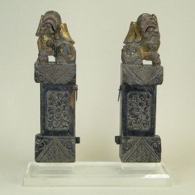 6: PAIR OF ANTIQUE WOODEN FOO DOGS