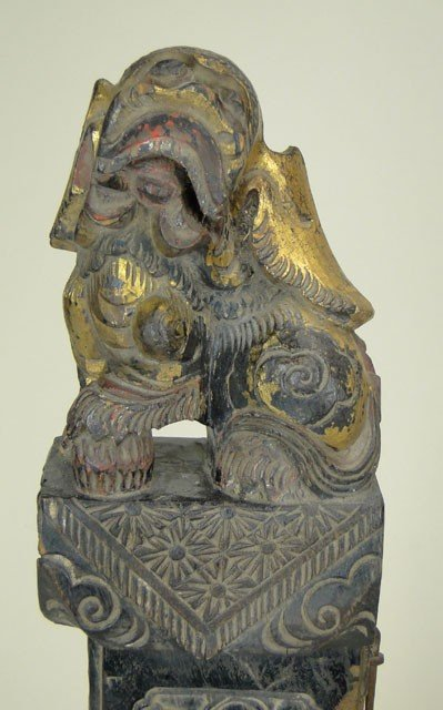 6: PAIR OF ANTIQUE WOODEN FOO DOGS - 2