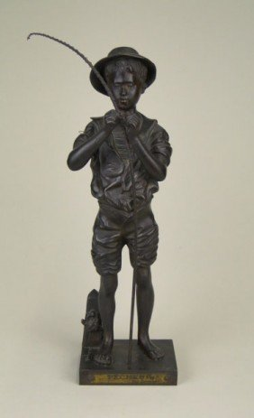 17: ANTIQUE FRENCH BRONZE BOY FISHING LAVERGNE