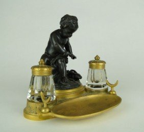 ANTIQUE FRENCH BRONZE INK WELL