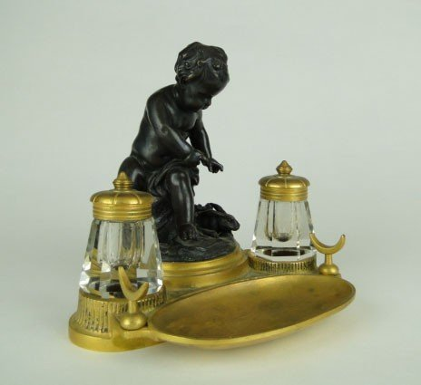19: ANTIQUE FRENCH BRONZE INK WELL