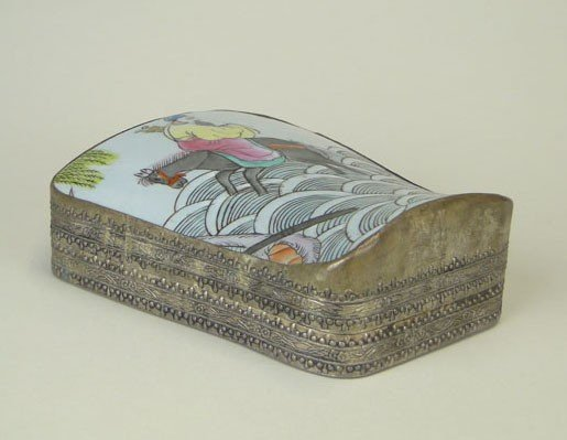 22: ANTIQUE CHINESE SILVER PAINTED BOX 19TH CENT