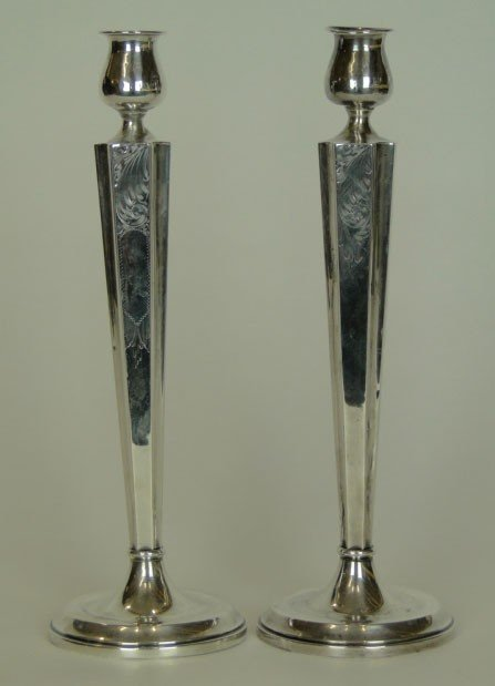 1: PAIR ANTIQUE STERLING CANDLESTICKS