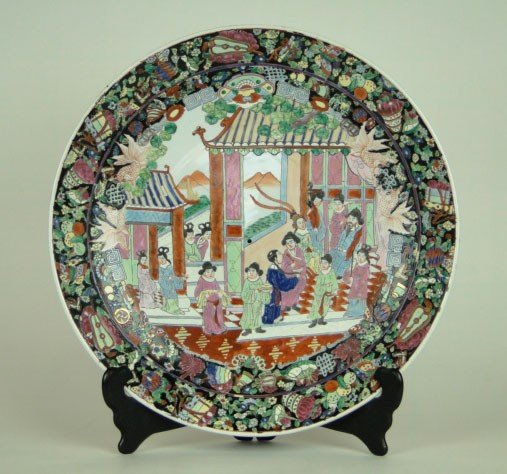 17: 19TH CENTURY LARGE FAMILLE ROSE CHARGER