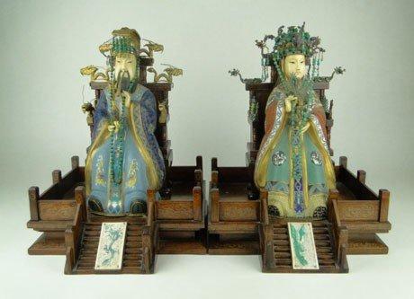 60: VINTAGE CHINESE IVORY &CLOISONNÉ LG EMPEROR EMPRESS