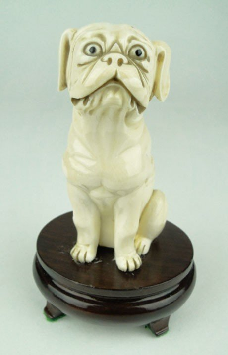2: ANTIQUE CHINESE IVORY CARVING OF A BULLDOG