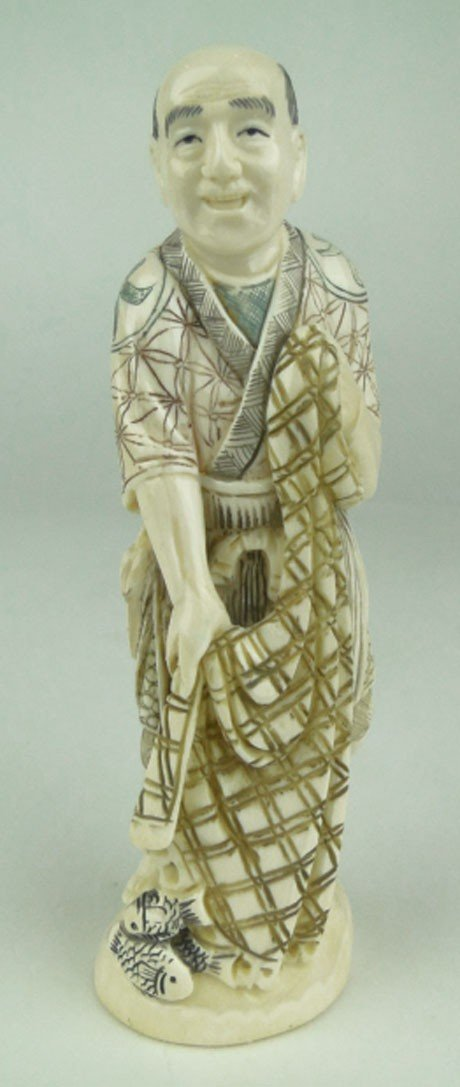 9: VINTAGE CHINESE IVORY CARVING FISHERMAN WITH NETS