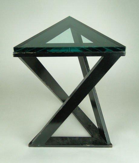 99: VINTAGE BRONZE TRIANGULAR END TABLE
