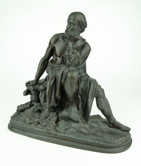 17: ANTIQUE FRENCH BRONZE THE PHILOSOPHER