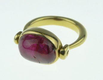 76: CHRISTOPHER WALLING  18KT  GOLD &  CABOCHON RUBY  R