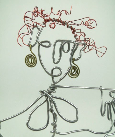 42: STOCKMAN ABSTRACT WIRE SCULPTURE MAN WITH READ HAIR - 2