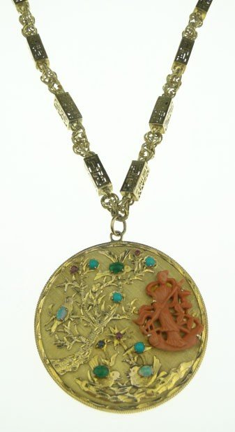 25: ANT CHINESE 14KT  GOLD CORAL & GEM NECKLACE W/PENDA