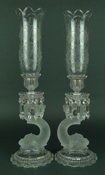 86: SUPERB BACCARAT CRYSTAL DOLPHIN HURRICANE LAMPS