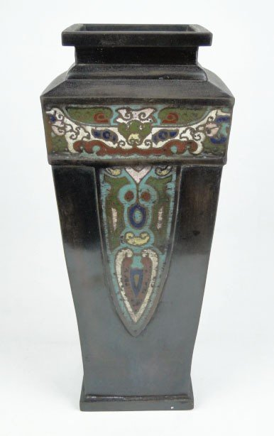 8: ANTIQUE CHINESE BRONZE & CLOISSONE VASE