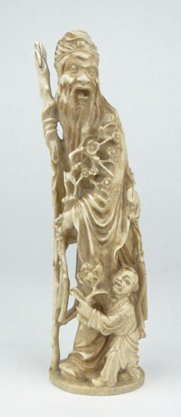 16B: 19C LARGE CARVED IVORY CHINESE ELDER