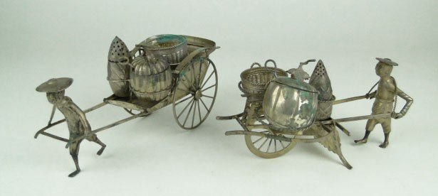 8A: PAIR OF ANTIQUE CHINESE EXPORT SILVER CONDIMENT MOD
