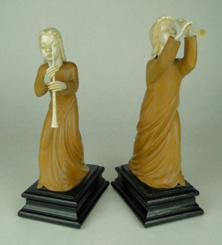 3: CARVED WOOD & IVORY CONTINENTAL REVEILERS