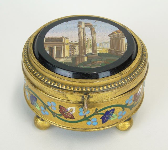 9: ANTIQUE CONTINENTAL MICRO MOSAIC BRONZE  DRESSER BOX