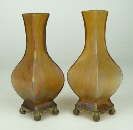 10: PAIR ANTIQUE LOETZ VASES  WITH  STANDS