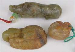 38: Collection of Three (3) Antique CHINESE Carved FIG