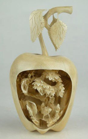 5: 19C CHINESE CARVED IVORY APPLE