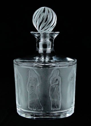 21: WONDERFUL LALIQUE CRYSTAL FROSTED DECANTER & STOPPE