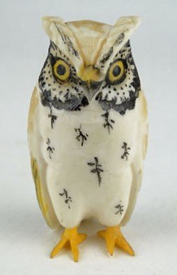 23: VINTAGE CHINESE CARVED IVORY OWL