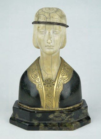 1: DECO BRONZE AND IVORY BUST OF A FLAPPER GIRL