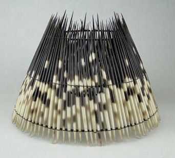 155: UNUSUAL VINTAGE PORCUPINE QUILL LAMP SHADE
