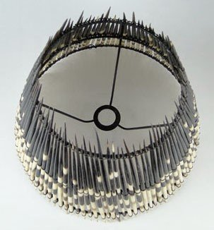 155: UNUSUAL VINTAGE PORCUPINE QUILL LAMP SHADE - 2